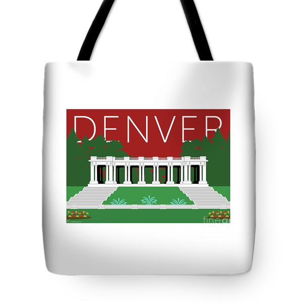 Tote Bag featuring the digital art Denver Cheesman Park/maroon by Sam Brennan