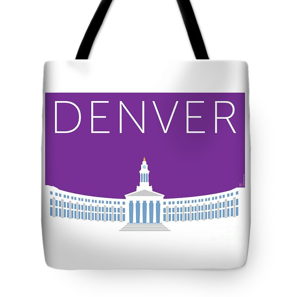 Tote Bag featuring the digital art Denver City And County Bldg/purple by Sam Brennan