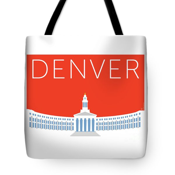 Tote Bag featuring the digital art Denver City And County Bldg/orange by Sam Brennan
