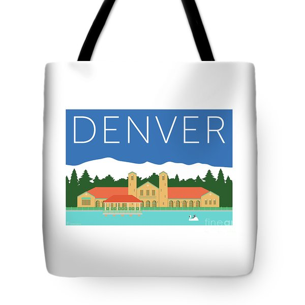 Tote Bag featuring the digital art Denver City Park/blue by Sam Brennan
