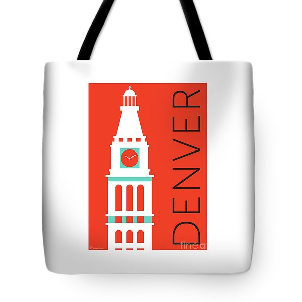 Tote Bag featuring the digital art Denver D And F Tower/orange by Sam Brennan