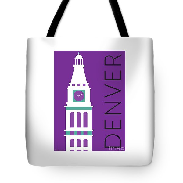 Tote Bag featuring the digital art Denver D And F Tower/purple by Sam Brennan