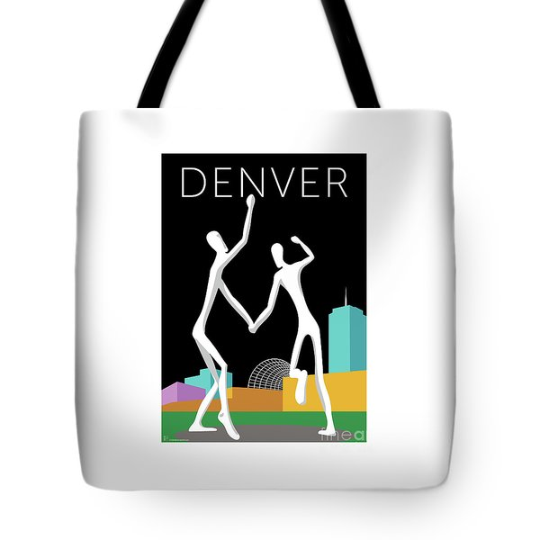 Tote Bag featuring the digital art Denver Dancers/black by Sam Brennan