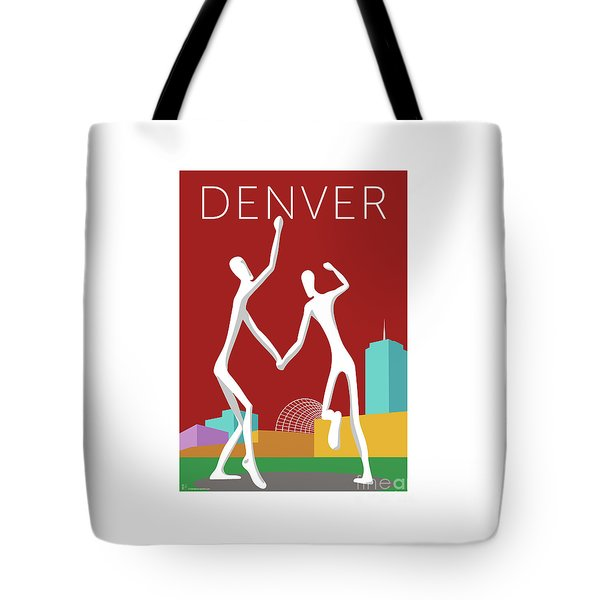 Tote Bag featuring the digital art Denver Dancers/maroon by Sam Brennan