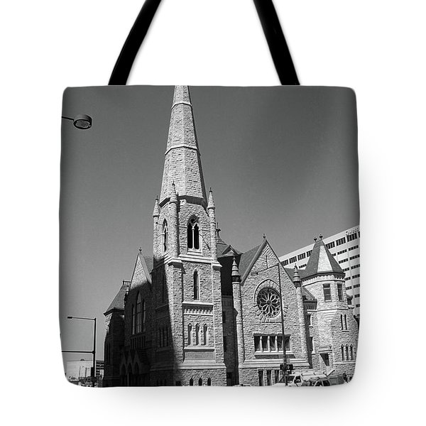 Denver Downtown Church Bw Tote Bag by Frank Romeo