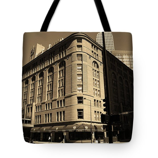 Tote Bag featuring the photograph Denver Downtown Sepia by Frank Romeo