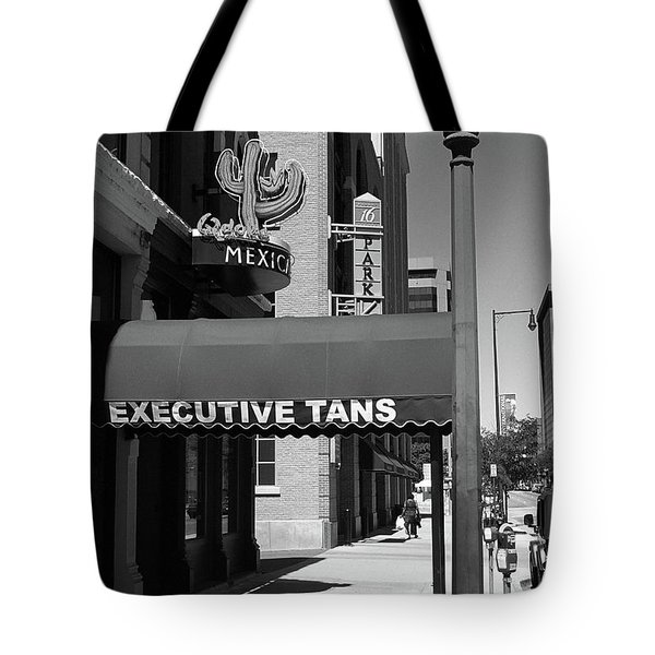 Denver Downtown Storefront Bw Tote Bag by Frank Romeo