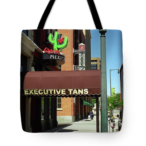 Denver Downtown Storefront Tote Bag by Frank Romeo