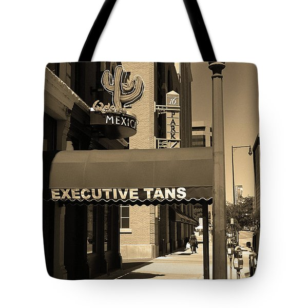 Tote Bag featuring the photograph Denver Downtown Storefront Sepia by Frank Romeo