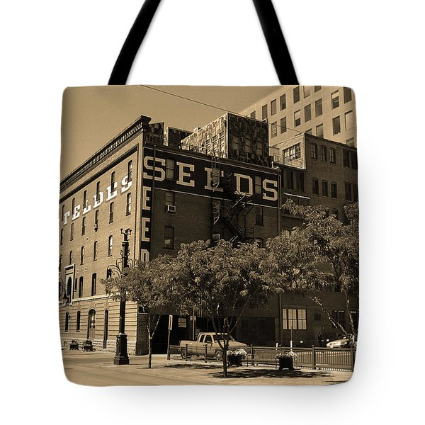 Tote Bag featuring the photograph Denver Downtown Warehouse Sepia by Frank Romeo