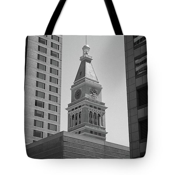 Denver - Historic D And F Clocktower 2 Bw Tote Bag by Frank Romeo