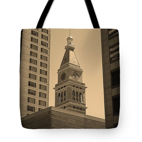 Tote Bag featuring the photograph Denver - Historic D F Clocktower 2 Sepia by Frank Romeo