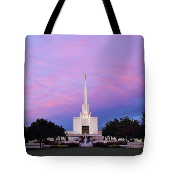 Denver Lds Temple At Sunrise Tote Bag