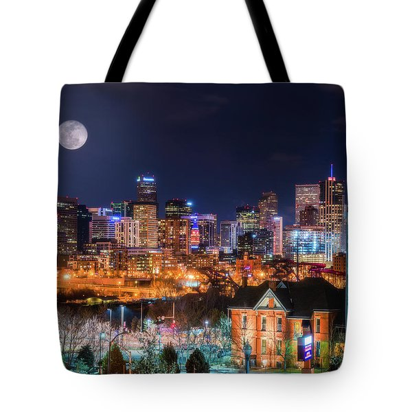 Tote Bag featuring the photograph Denver Moon by Darren White