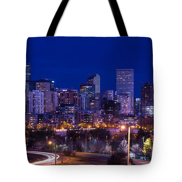 Denver Skyline At Night - Colorado Tote Bag