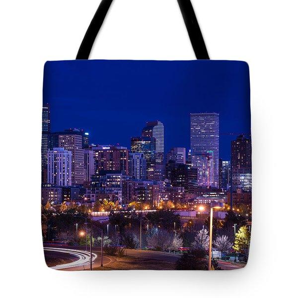 Denver Skyline At Night - Colorado Tote Bag