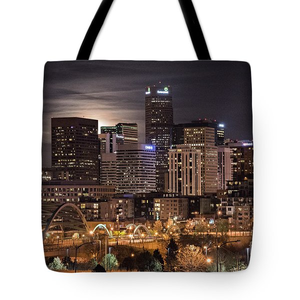 Denver Skyline At Night Tote Bag by Juli Scalzi