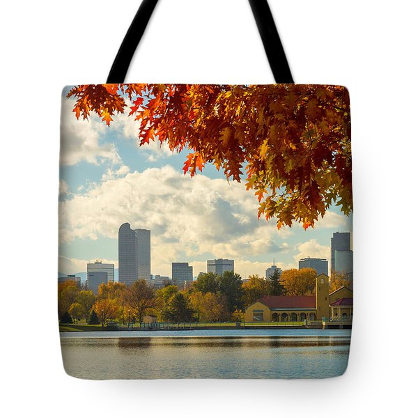 Denver Skyline Fall Foliage View Tote Bag