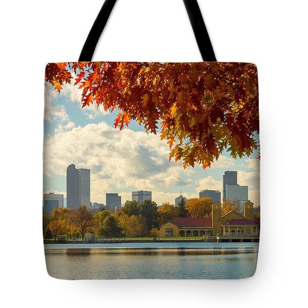 Denver Skyline Fall Foliage View Tote Bag