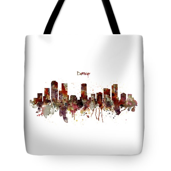 Tote Bag featuring the mixed media Denver Skyline Silhouette by Marian Voicu