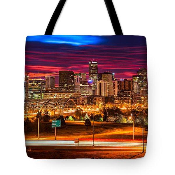 Denver Skyline Sunrise Tote Bag
