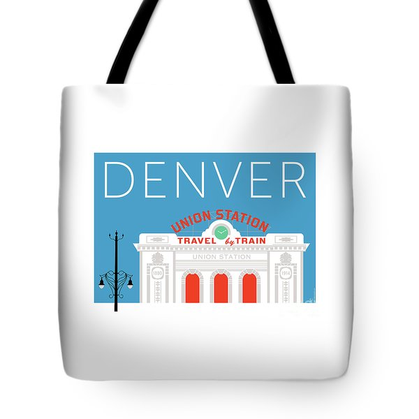 Tote Bag featuring the digital art Denver Union Station/blue by Sam Brennan