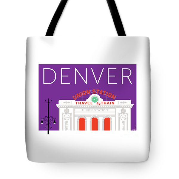 Tote Bag featuring the digital art Denver Union Station/purple by Sam Brennan