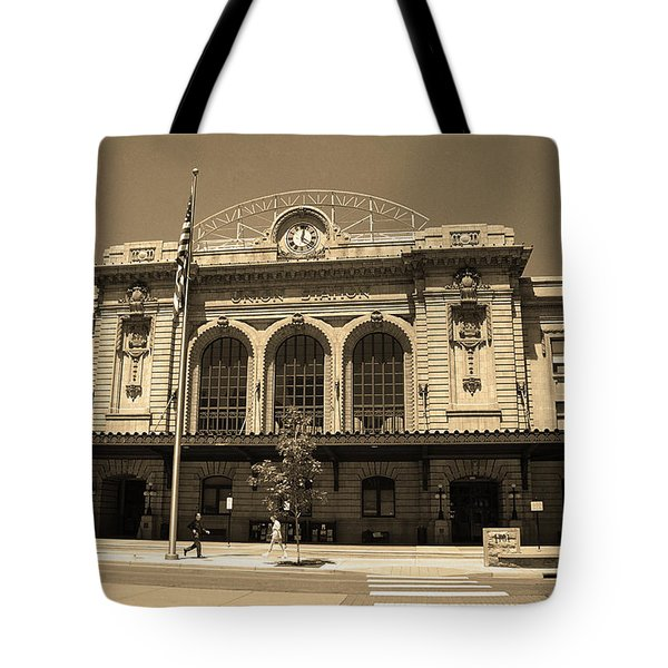 Tote Bag featuring the photograph Denver - Union Station Sepia 5 by Frank Romeo