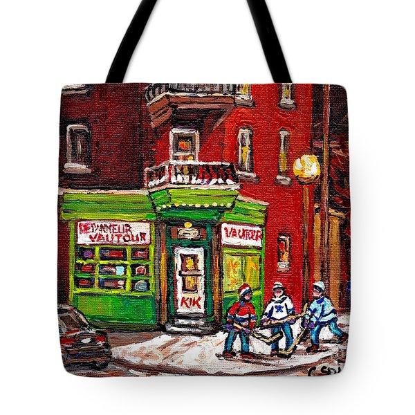 Depanneur Vautour Winter Night Hockey Game Near Glowing Street Lights St Henri Painting Montreal Art Tote Bag