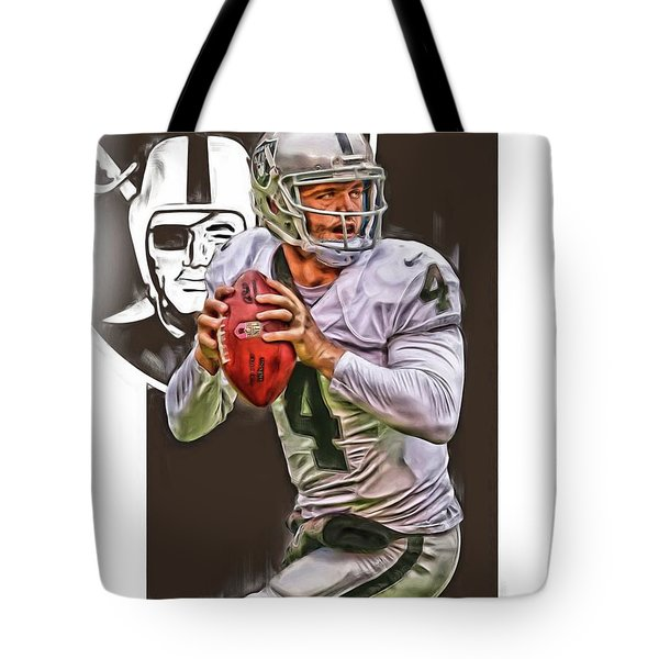 Derek Carr Oakland Raiders Oil Art Tote Bag