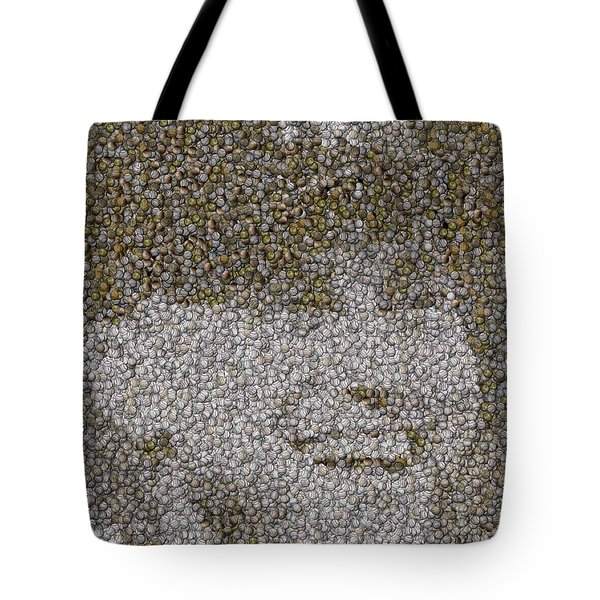 Tote Bag featuring the mixed media Derek Jeter Baseballs Mosaic by Paul Van Scott