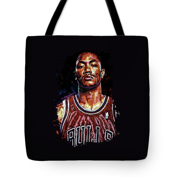 Derrick Rose-2 Tote Bag by Maria Arango