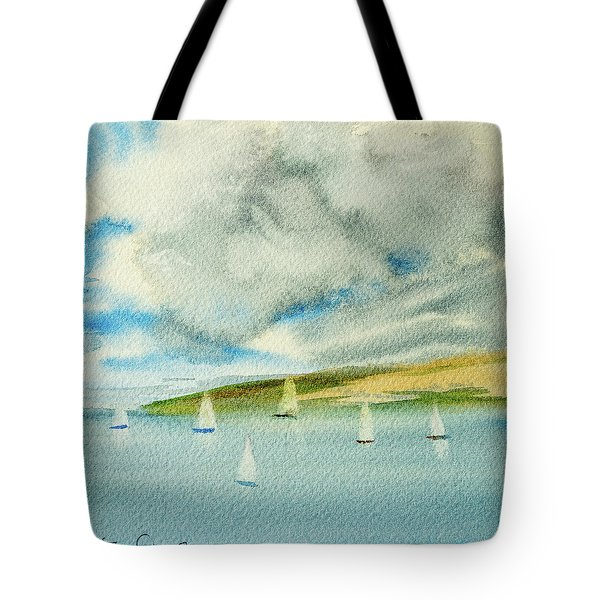 Dark Clouds Threaten Derwent River Sailing Fleet Tote Bag