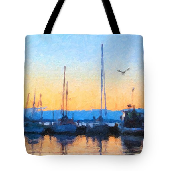 Tote Bag featuring the painting Derwent River Sunset by Chris Armytage