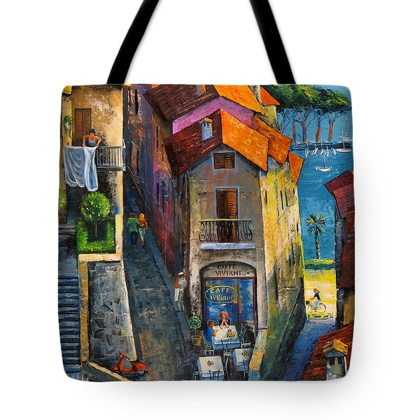 Tote Bag featuring the painting Desenzano Del Garda by Mikhail Zarovny