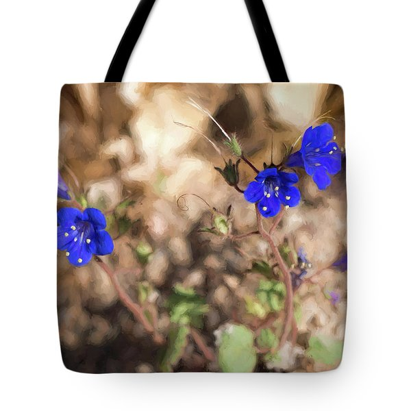 Tote Bag featuring the photograph Desert Blue Bells At Joshua Tree National Park by Penny Lisowski