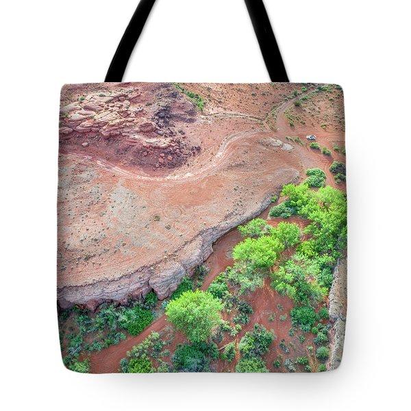 desert canyon in Utah aerial view Tote Bag