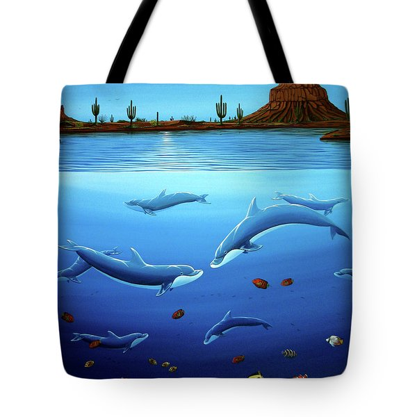 Desert Dolphins Close  Tote Bag by Lance Headlee