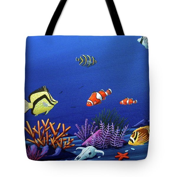 Desert Dolphins Very Close Tote Bag by Lance Headlee