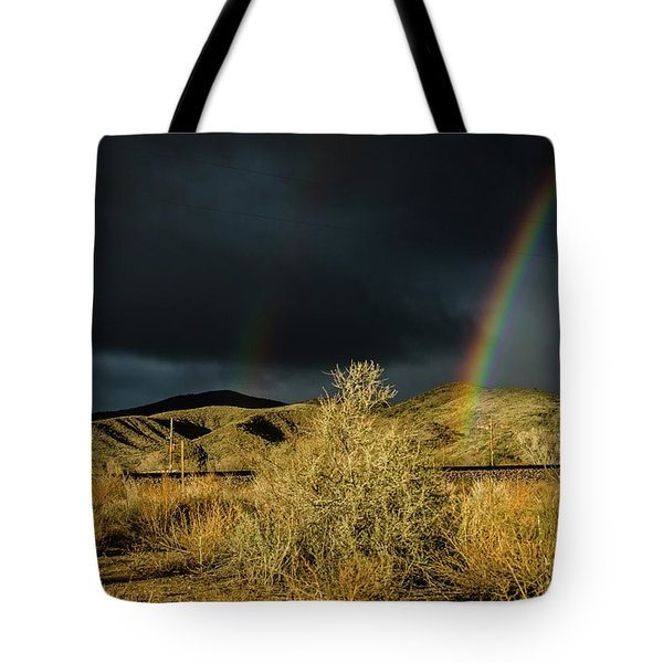 Desert Double Rainbow Tote Bag