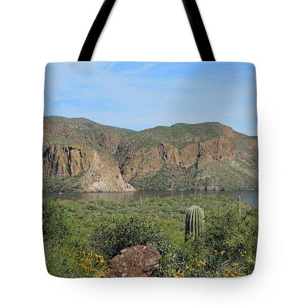 Tote Bag featuring the digital art Desert Flora Over Canyon Lake by Lynda Lehmann