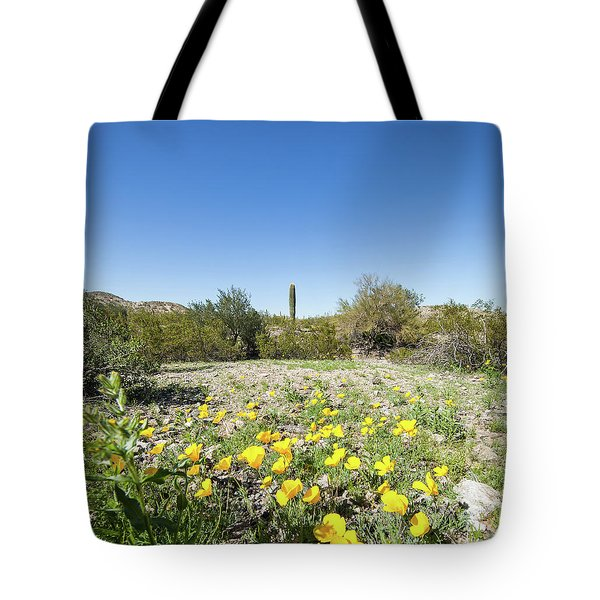 Tote Bag featuring the photograph Desert Flowers And Cactus by Ed Cilley