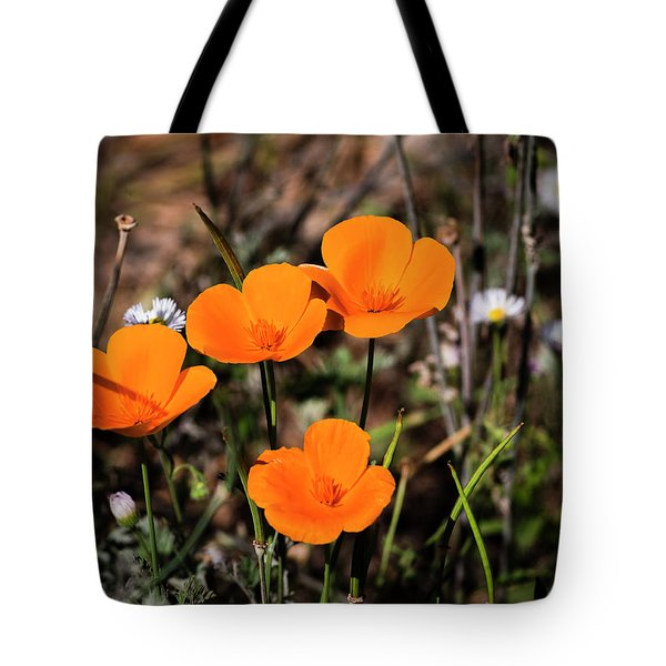 Tote Bag featuring the photograph Desert Flowers Four Flowers Four by Penny Lisowski