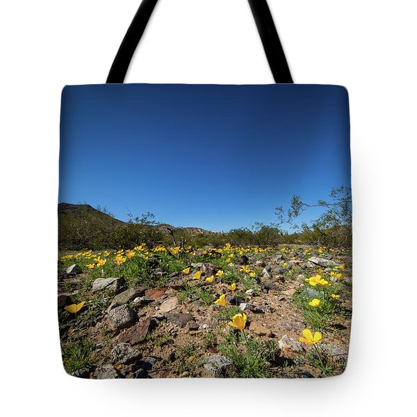 Desert Flowers In Spring Tote Bag by Ed Cilley