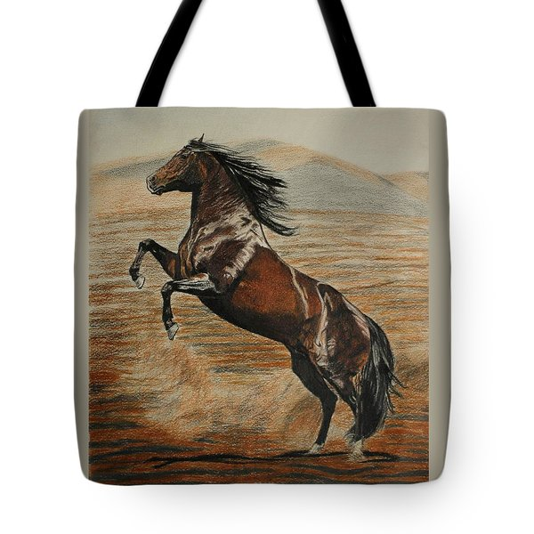 Tote Bag featuring the drawing Desert Horse by Melita Safran