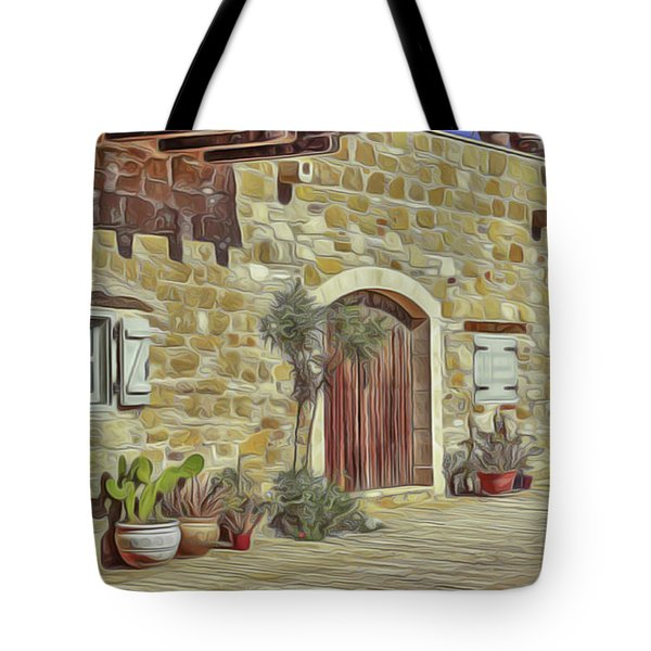 Tote Bag featuring the painting Desert House by Harry Warrick