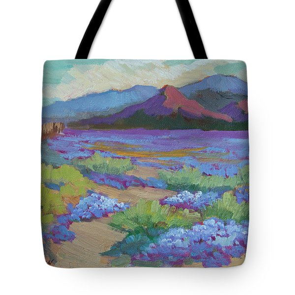 Tote Bag featuring the painting Desert In Bloom by Diane McClary