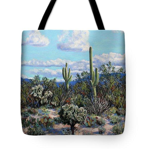 Tote Bag featuring the painting Desert Landscape by M Diane Bonaparte