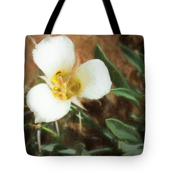 Tote Bag featuring the painting Desert Mariposa Lily by Penny Lisowski