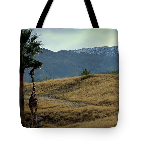 Desert Palm Giraffe 001 Tote Bag by Guy Hoffman